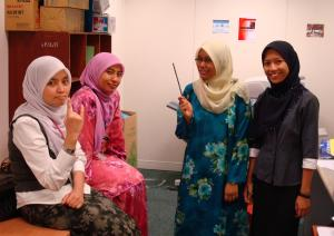 ila [the rockers], azy [yang ayu], me and hani...after a tense war with the fax and copy machine...